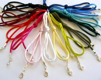 "25 pc Rattail Satin Cord Necklaces Handmade in USA Black Brown Blue Red Pink White Olive Green 14"" 16"" 17"" 18"" 19"" 20"" 22"" 24"" 26"" 28"" 30"""