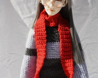Red Crochet SD Hat and Scarf Set, Size 8-9 BJD Hat and Scarf, Asian Ball Joint Doll Winter Clothing, Christmas Doll Beanie