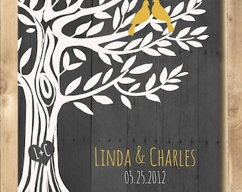 Personalized Engagement gift, Wedding Gift Love Birds Tree, Anniversary Gift for Couples Art Poster