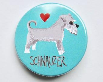 Schnauzer button 38mm dog owner badge