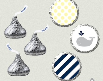 Hershey Kiss Labels, Navy and Yellow Whale Baby Shower, Baby Boy, Whale Birthday Party, Printable Kiss Sticker Labels, Baby Shower Printable