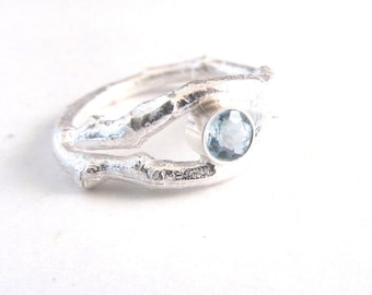 Aquamarine Ring - Branch Ring -Twig Jewelry - Twig Ring - Alternative Wedding Ring