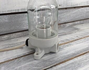 Vintage industrial german wall glass porcelain lamp