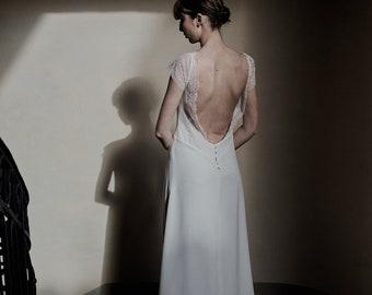 Dress wedding, civil marriage, long dress, designer, Caroline Quesnel, France, lyon