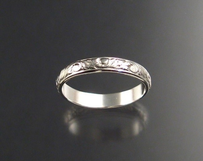 3mm Floral pattern ring Sterling silver Ring Band made to order in your size