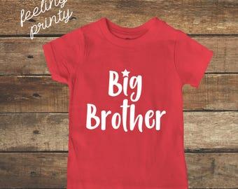 big brother Shirt Big Bro Shirt Boys Shirt Red with White New Brother shirt