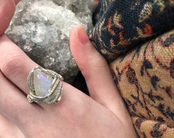 Sterling Silver Wire Wrapped Moonstone Ring