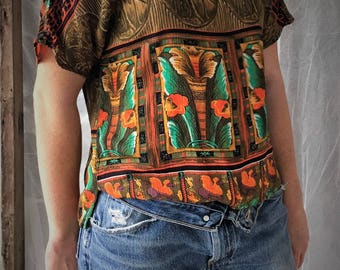 Vintage 90's colorful tribal / island print short-sleeved shirt...