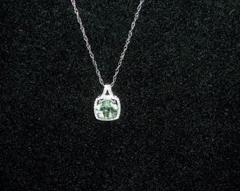 Sterling and Green Amethyst Necklace-both pieces are 925