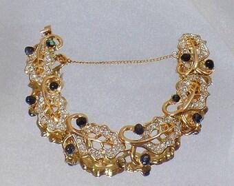 BIG SALE Vintage Kramer Rhinestone Bracelet.  Gold Plated Clear and Black Rhinestone Leaf Bracelet.  Link Bracelet.