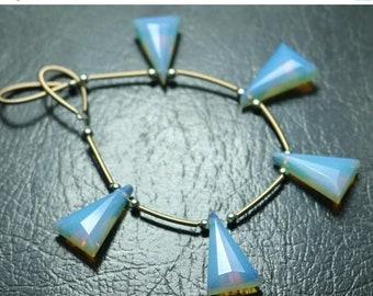 80% OFF SALE 5 Pieces Amazing Opalite Triangle Facetade Briolette Beads