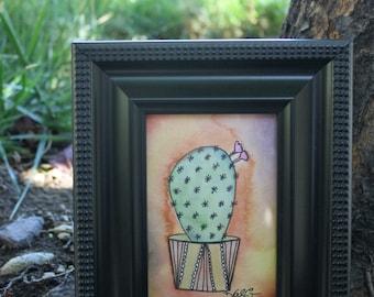 Opuntia Cactus (Original Watercolor in 3.5x5 frame)