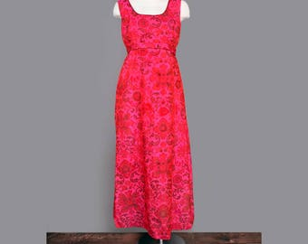 1960's Pure India Silk Fuchsia Pink Floral Long Vintage Evening Dress - Medium