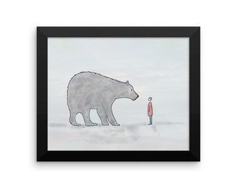 Hello!  Framed Nursery Art Child Bear Friends Framed Wall Art Original Watercolor Print framed and ready to hang