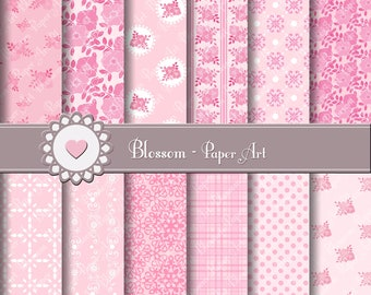 Digital Paper Baby Girls Digital Paper Pack Pink Flowers Scrapbooking, Baby Shower Decor - 1567