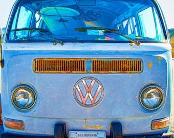 Surfer Art, Old VW, Beach Decor, Beach Art Photo, VW For the Guys, Old Volkswagen Van Photo, Surfboard, Boys Room,Hippie VW Van, Manly Decor