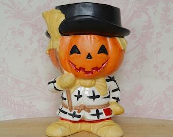 Vintage 1960s Jack O' Lantern Pumpkin Scarecrow Ceramic Planter by Relpo