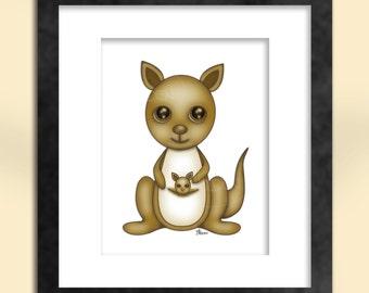 Kangaroo with Joey Art Print