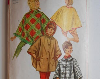 Vintage 60s Mod Pullover Poncho or Button Cape with Hood Sewing Pattern Simplicity 6651 Size 14 16 Bust 34 36
