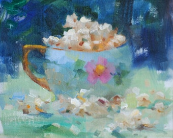 Oil Painting of Pop Corn in Vintage Tea Cup.  Still Life Art Original Painting. Original Small Artwork by Frankie Johnson.
