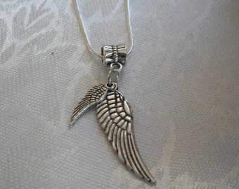 Mother & Child Angel Wings, Bird Wings, Silver Snake Chain, Double Wing Necklace, by Brendas Beading on Etsy