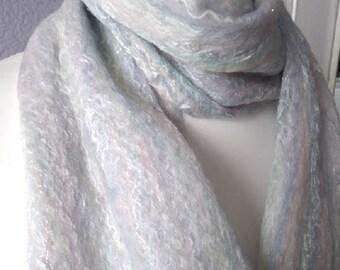Luxury Felt Scarf, Ladies Handmade Scarf, Fairy Kisses Boho Cobweb Wrap, 164 x 25 cm, Gift for Her, Felt Isle FCSFX