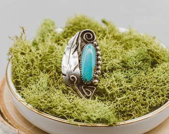 Single Feather Turquoise Ring.