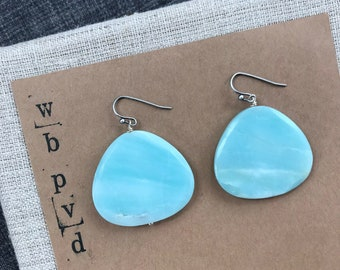 faceted amazonite drop earrings.