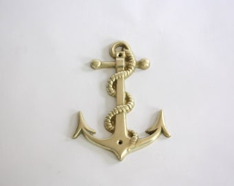 Vintage Brass Anchor Wall Hanging