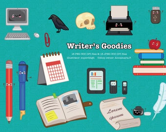 Digital Download Clip Art--Writer's Goodies--Fun Tools Writers Use!