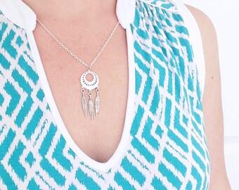 Dreamcatcher Necklace, Dreamcatcher Gift, Dreamcatcher Jewelry, Protection Necklace Silver Feather Necklace Spiritual Jewelry Hippie Jewelry