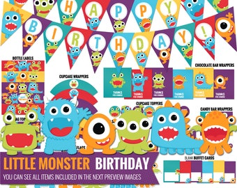 Little Monster Birthday Decorations Package. Printable Kids Birthday Party Decor. Funny Gender Neutral First Birthday. Digital Download