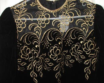 BLACK VELVET DRESS, Vintage 80's, Gold Thread Embroidery on Bodice, 'Collections'  Size 7/8 Small (#753)
