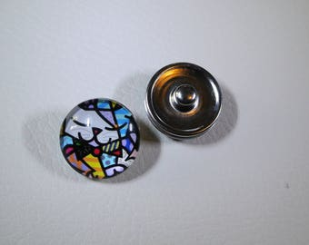 2 press studs snap aluminum beautifying bracelet, glass and Cubist cat decor, sold individually
