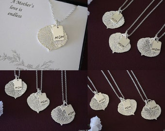 Mother Aspen Leaf Necklace,Leaf Necklace Personalized, Silver Leaf, Silver Mom Charm, Monogram Necklace, Mother Necklace, Mothers Day Gift