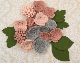 Handmade Wool Felt Flowers, Smokey Marble, Blushing Bride, and Peaches and Cream.