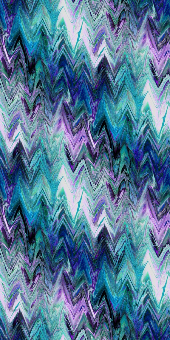 Turquiose Zig Zag Textile Artist Hand Created  Performance Knit Fabric By The Yard