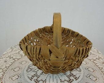 Primitive Hand Woven Basket. Buttocks Basket.Bentwood Handle. Gathering Basket.