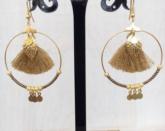 Large hoop earrings gold and bronze