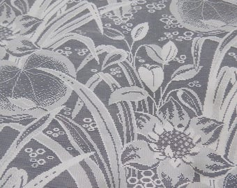 HUGE Vintage LACE CURTAIN 96 Top X 216 Bottom X 96 Long Water Lily Pattern