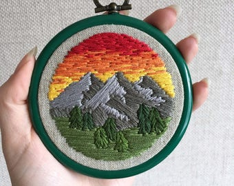 Downloadable PDF Mountain embroidery pattern