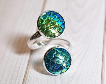 Mermaid ring - mermaid wrap ring - mermaid jewelry - blue scale ring - handmade jewelry - fantasy ring - ocean jewelry - gift for her