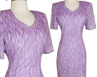 Vintage 80s Dress / 80s Sequin Dress / Lavender Sequin Dress / 80s Purple Dress / S Small Cocktail Party Sheath Short Sleeves Cruise Glam