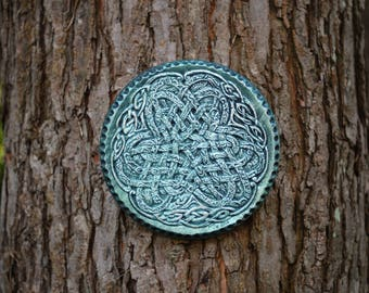 Mothers Day Gift, Irish Ribbon Celtic Knot Art, Porch Decor Stone Art Sculpture, Irish Home Decor, Ireland Wall Art, Celtic Wall Plaque