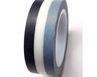 SALE Washi Tape, Monochromatic Stripes  15mm x 10 meters