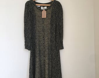 Vintage black floral prairie dress with buttons