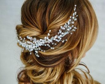 Headpiece bridal hair vine crystal opal Hair comb bridal branch Something blue for Bride hair accessories Wedding hair piece Hair jewelry