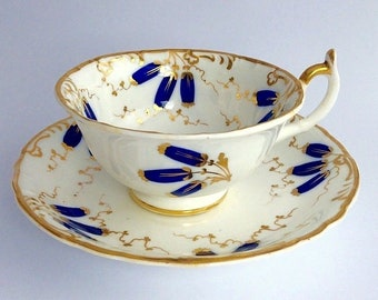 Superb Rockingham handpainted tea cup and saucer c.1830, puce griffin mark, FREE SHIPPING