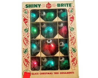 Shiny Brite Christmas Ornaments In Box Green Blue Pink Red