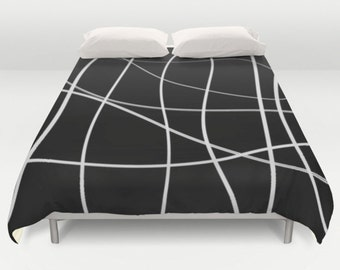 Modern Duvet Cover, Black White Bedding, King Queen Full Twin, Size,  Abstract